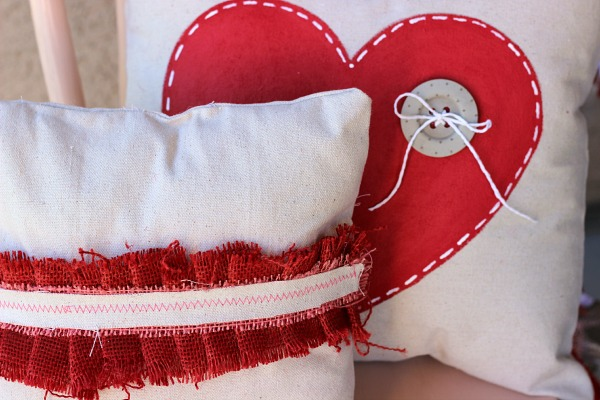 Burlap and Paint Valentine's Pillows made from Drop Cloths