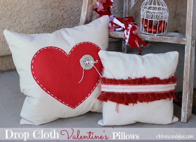How to make Valentine's Drop Cloth Pillows using paint and burlap