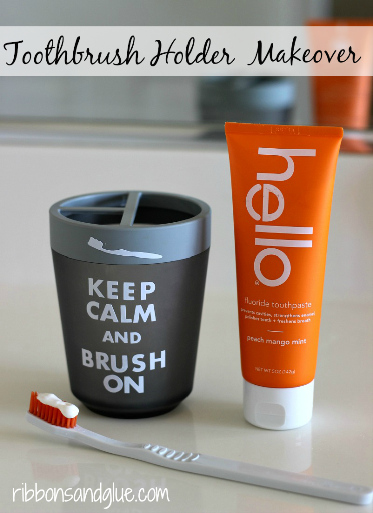 Easy Keep Calm and Brush On Toothbrush Holder Makeover using @silhouetteamerica lettering and white vinyl.