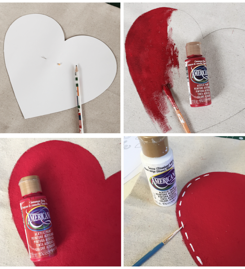 How to make a Painted Drop cloth pillow for Valentine's Day