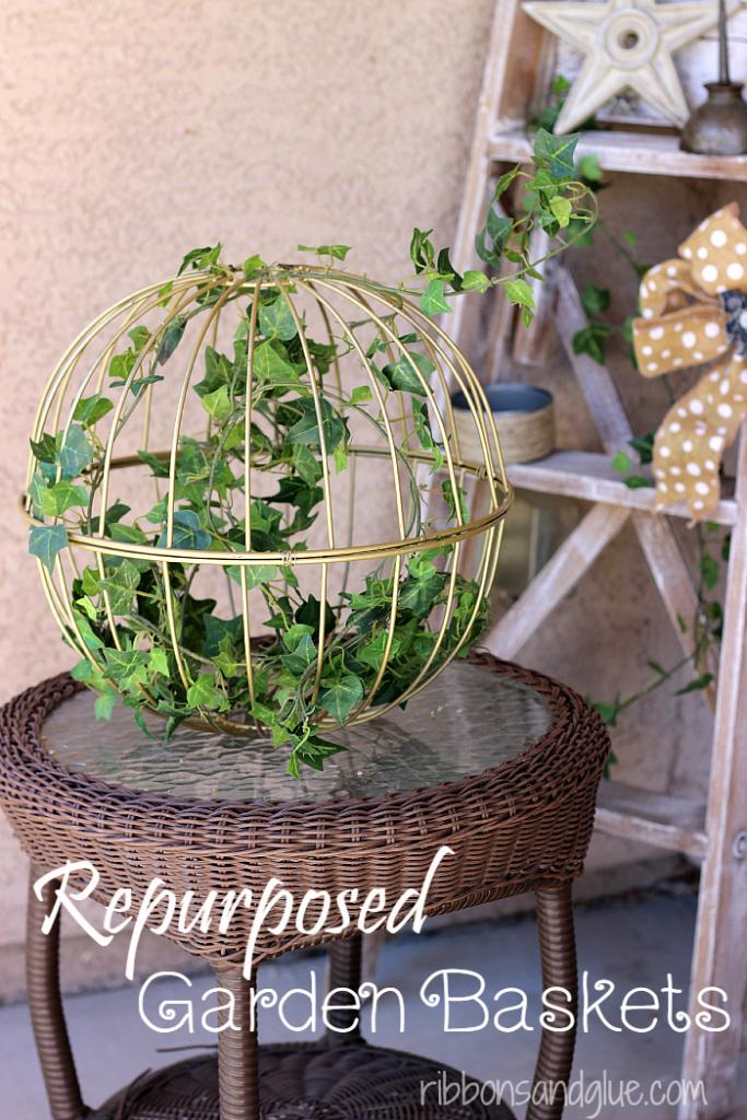 Repurposed Iron Baskets into Garden Decor