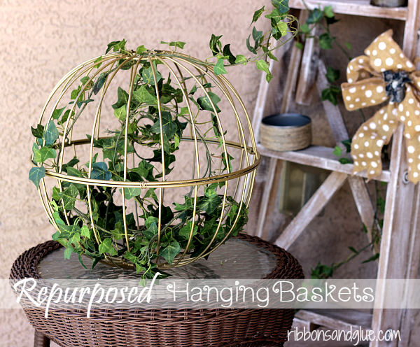 Repurposed Hanging Garden Baskets into Home Decor. Such and easy outdoor DI!Y!