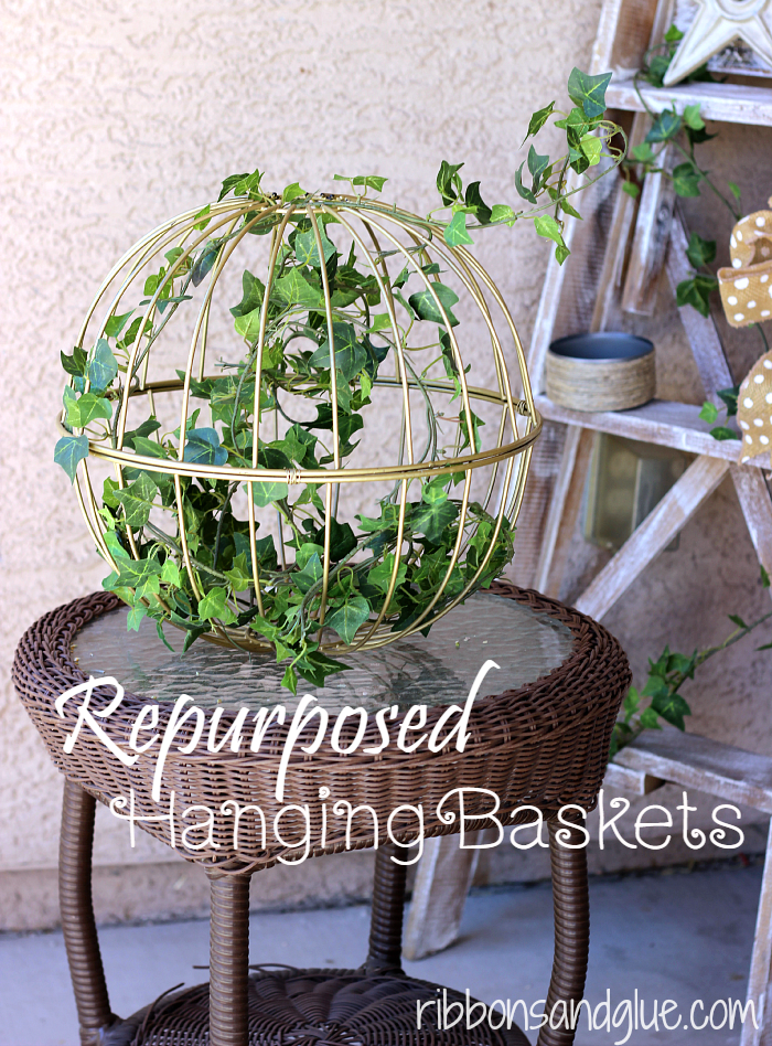 Repurposed Hanging Baskets into Home Decor. All you need is wire and spray paint, Such and easy outdoor DIY