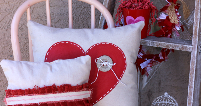 Valentine's Drop Cloth Pillows