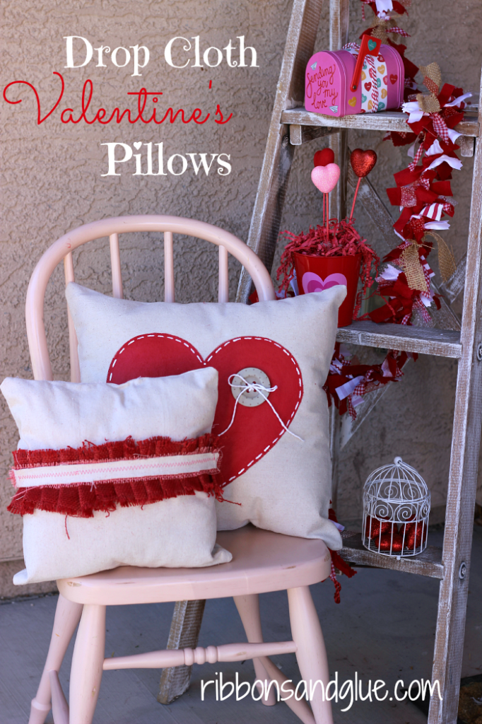 Valentine's Drop Cloth Pillows made from Painted Drop Cloths and Burlap. Easy Tutorial!