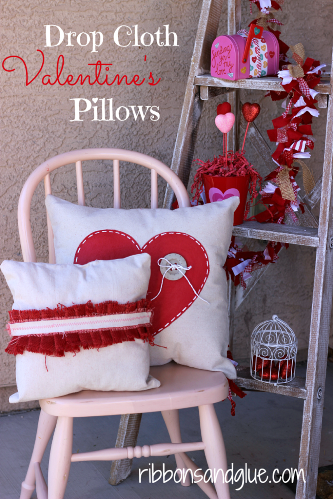 DIY Valentine's Pillows made from Painted Drop Cloths and Burlap. Easy Tutorial!