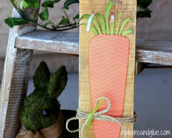 Spring Carrot Sign made with Silhouette and scrapbooking paper