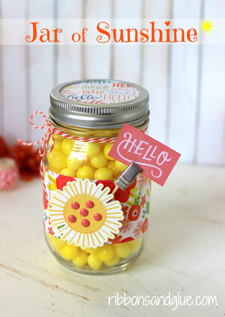 Mason Jar full of Sunshine (Lemonheads candy) to brighten up those cloudy days. Easy gift idea craft made with scrapbooking paper.