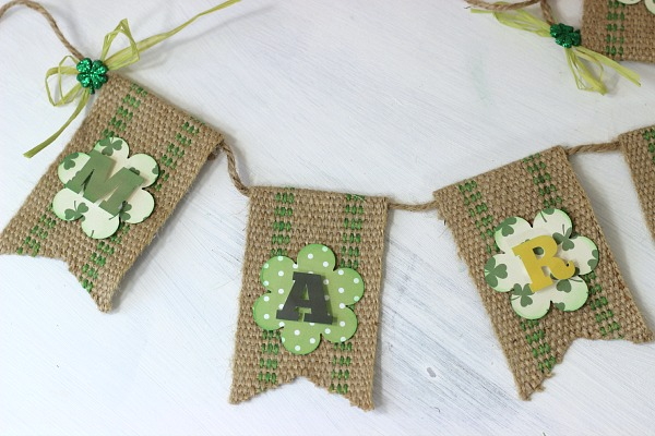 St Patrick's Day Banner made with jute webbing