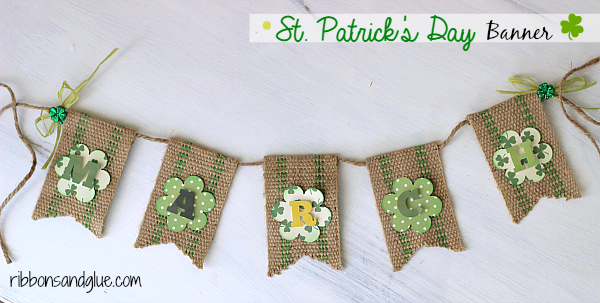 St Patrick's Day Banner made with green jute webbing