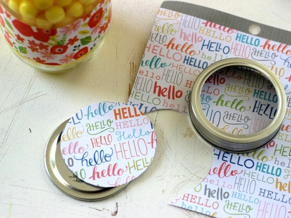Recover a mason jar lid with patterned paper