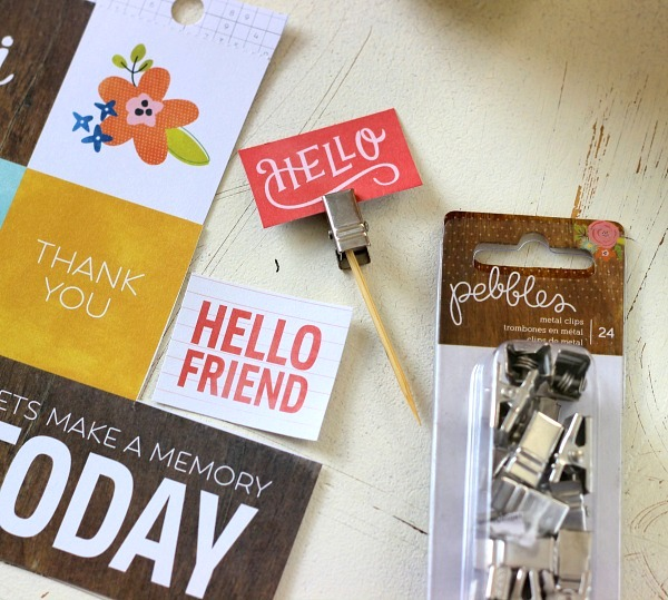 Happy Day Metal Clips and Patterned Paper make easy Mason jar embellishments.