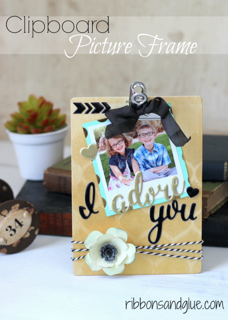 DIY Clipboard Picture Frame made with @pebblesinc Cottage Living collection.    Great Mother's Day Gift Idea!