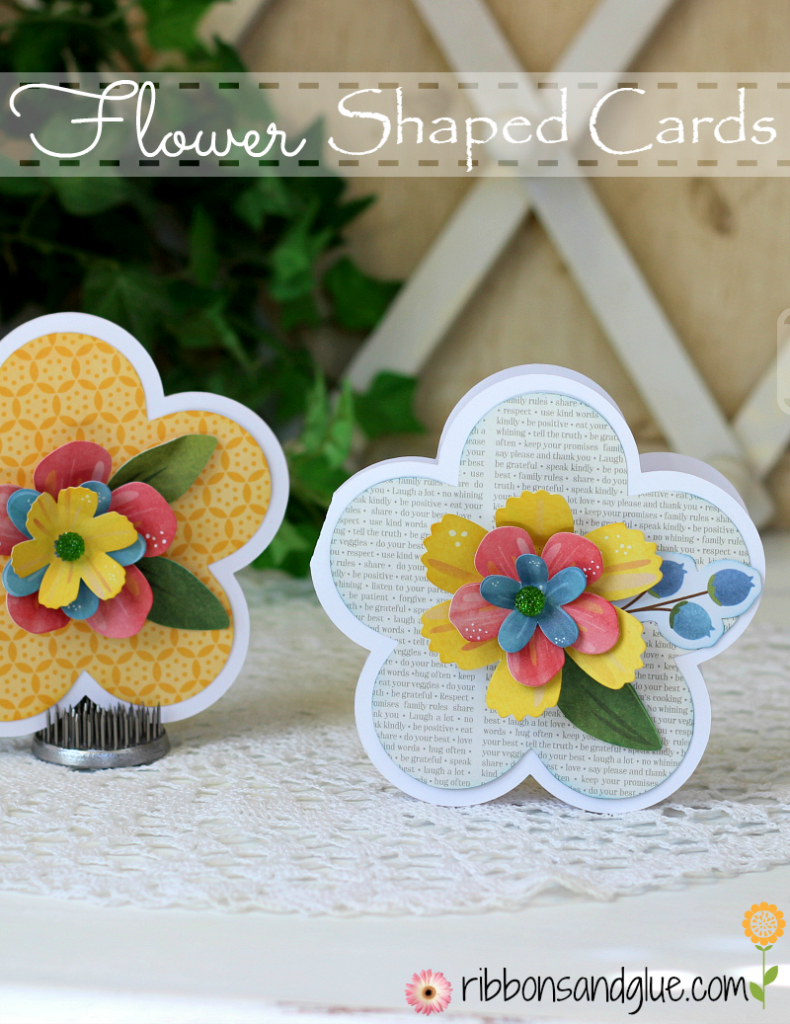 How to make Flower Shaped Cards with Silhouette Cameo and scrapbooking paper