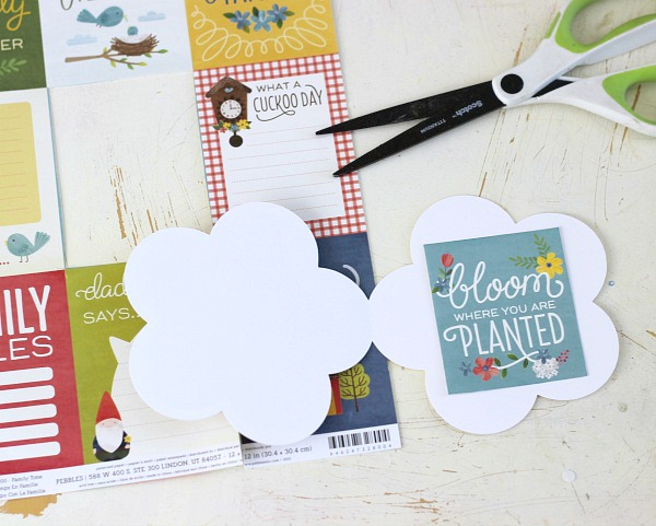 Cut out Journaling cards from scrapbooking paper to use as card sentiments. @pebblesinc Home Grown collection