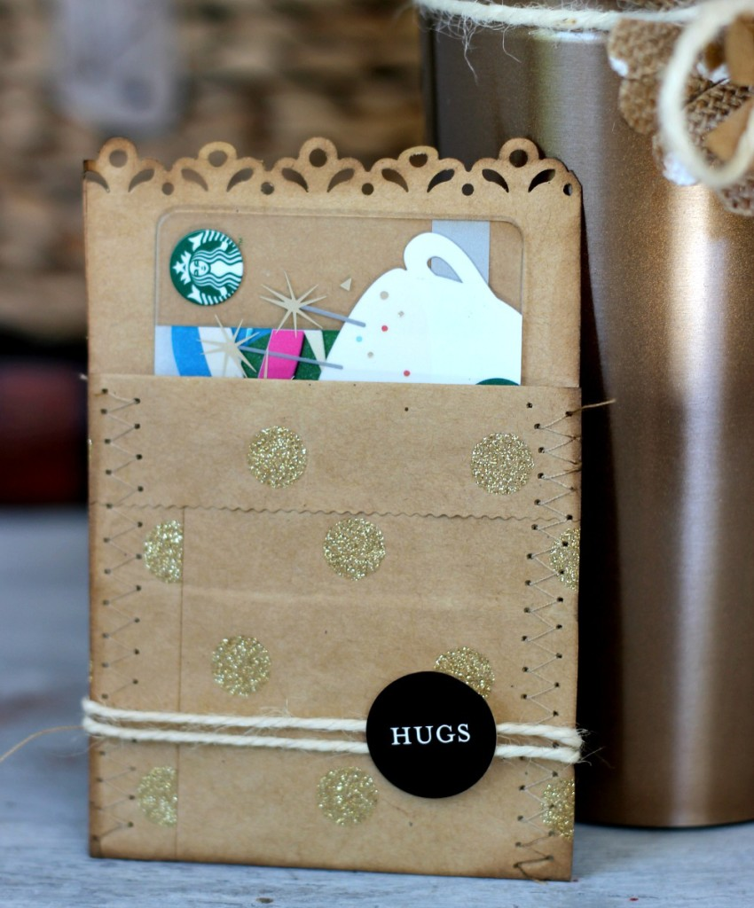 DIY Gift Card Envelope made with Stitching and kraft paper