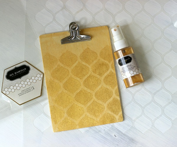 Stenciled Gold Mist Clipboard made with @pebblesinc Cottage Living collection