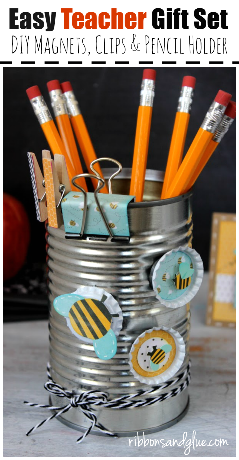 Upcycle a tin can in to an  Easy Teacher Gift Set by creating DIY Bottle Cap Magnets, Paper covered metal clips and a pencil holder.