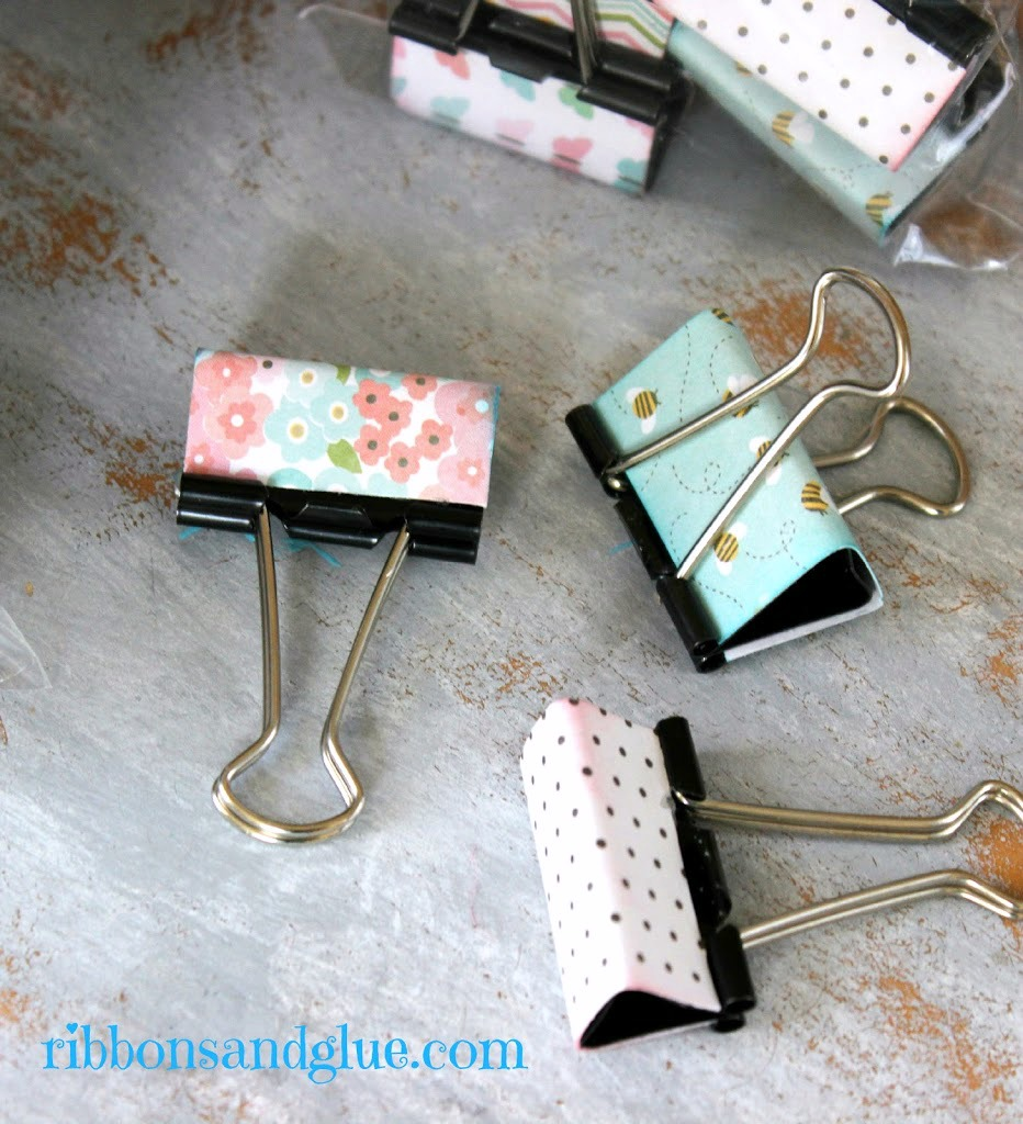 DIY Metal Clip Makeover with scrapbooking paper. Easy Teacher Gift IDea