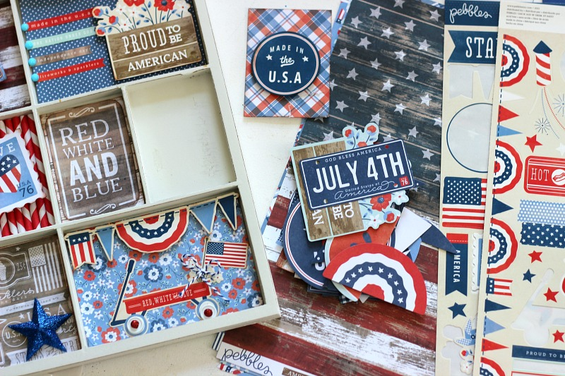 How to embellish a Patriotic memory tray for 4th of July