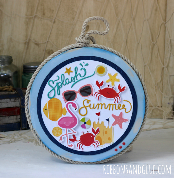 Easy DIY Nautical Beach Collage made from a painted wood circle and beach themed cardstiock die cuts