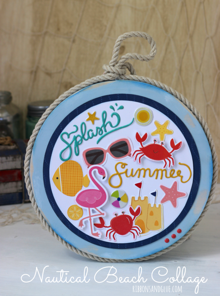 Nautical Beach Collage made from a painted wood circle. braided rope and beach themed die cut shapes. Easy and unique beach themed decor.