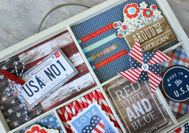 Celebrate 4th of July with a DIY Patriotic Memory Tray made with patriotic scrapbooking paper and embellishments