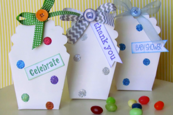 DIY Polka Dot Treat Boxes made with Glue Dots and glitter. Such an quick and easy party gift idea.