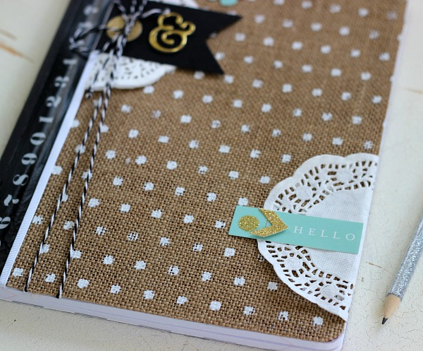 DIY Altered Composition Book with Burlap