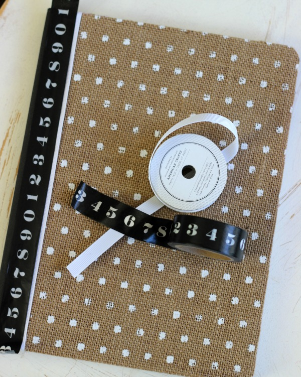 DIY Altered composition book into a beautiful burlap notebook