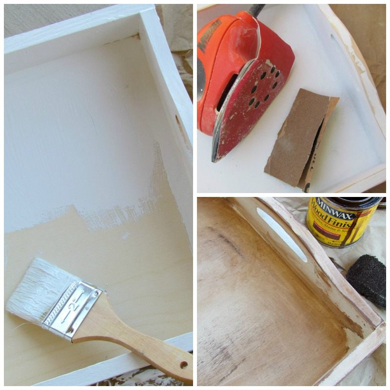 How to paint, distress and sand a wood serving tray.