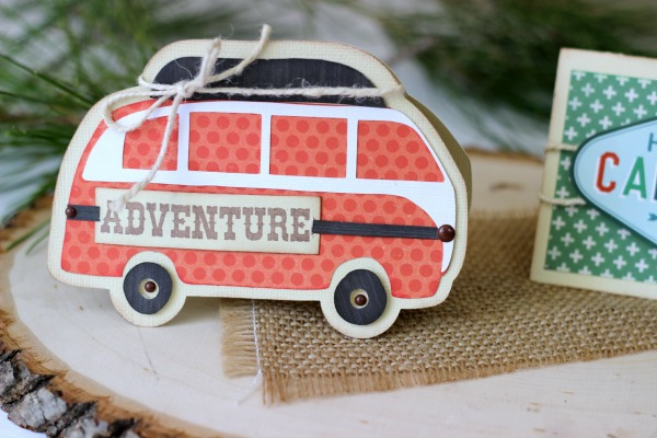 VW Bus camper cut out with Silhouette to make into a shaped card