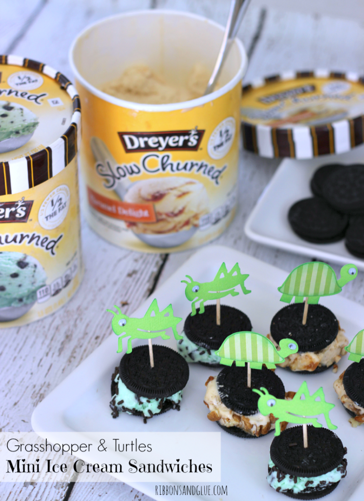 Grasshopper and Turtles Mini Ice Cream Sandwiches with fun toothpick toppers. #IceCreamHero #ad