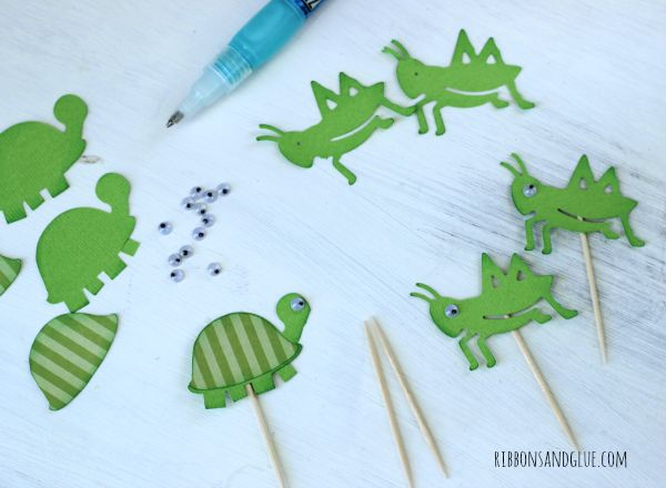 Turtles and Grasshopper Toothpick Toppers made with @silhouetteamerica