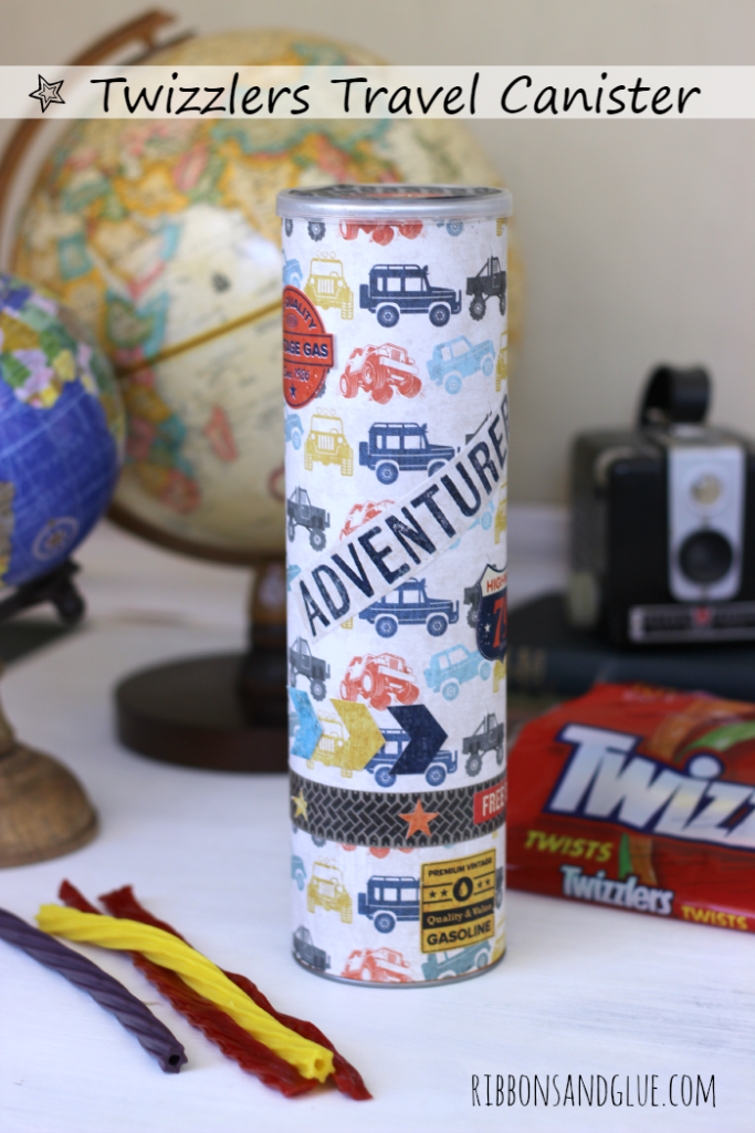 DIY twizzlers Travel Canister made witha Pringles canister and  @echoparkpaper Off Road kit.  Perfect size container to hold Twizzlers on any road trip!