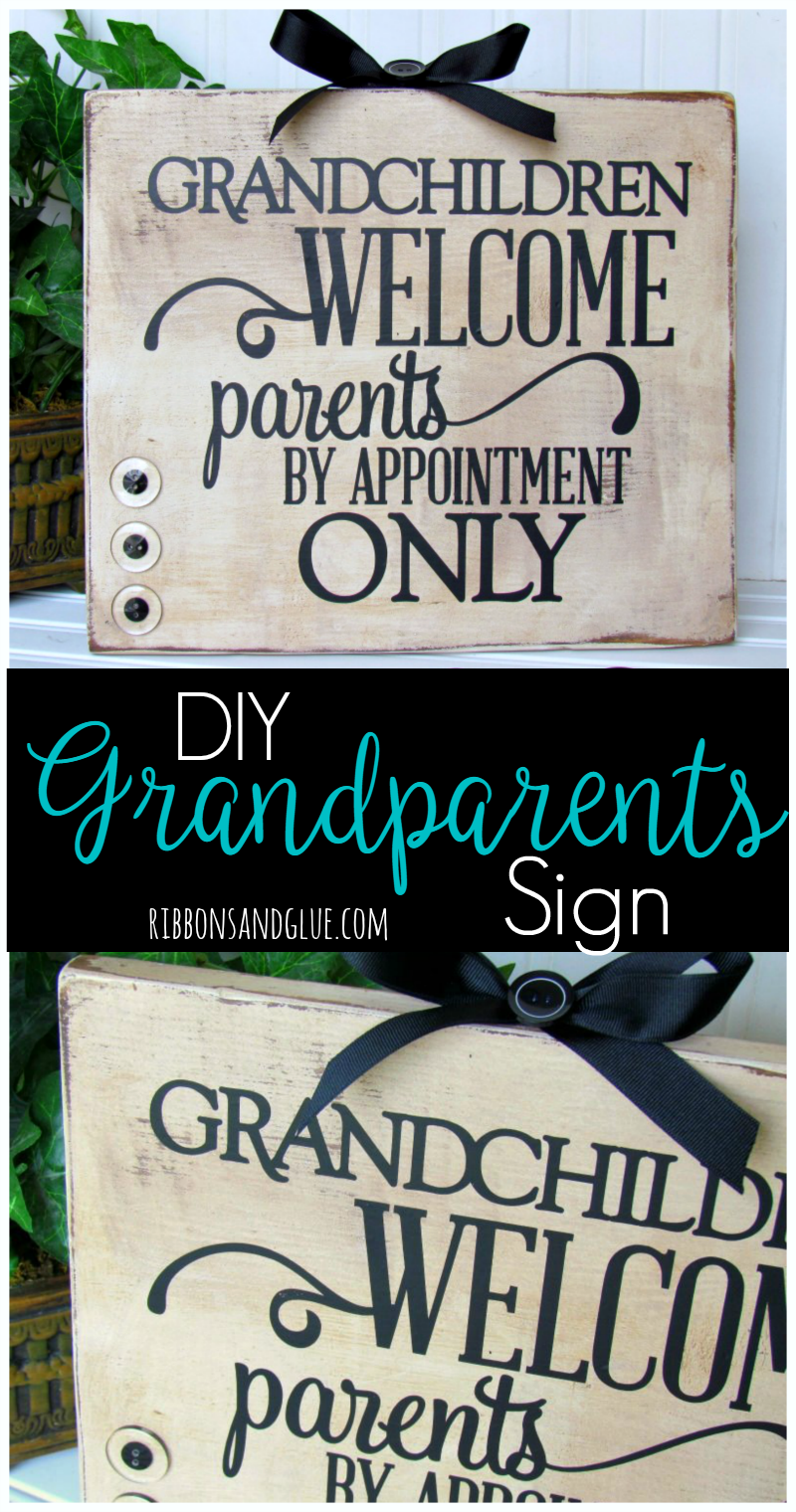 Give the Grandparents a unique gift for Grandparents Day by creating this Grandchildren Welcome Sign made from a wood board an vinyl lettering.