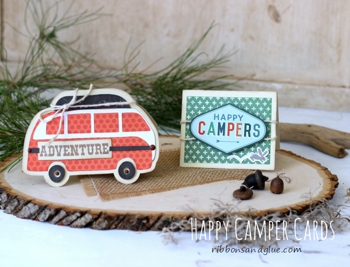 Happy Camper Cards made with @ silhouetteamerica and @echoparkpaper The Wild Life kit.