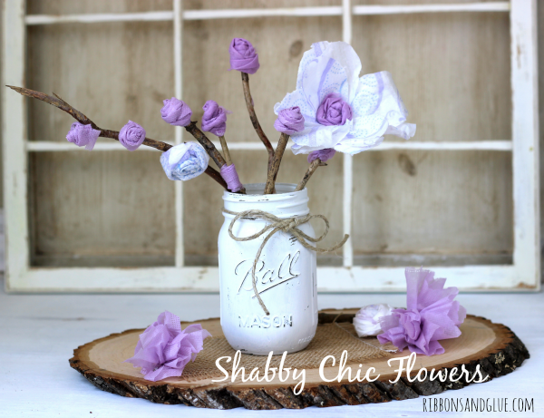 DIY Shabby Chic Flowers made ffrom a unusal item- rom Maxi Pads! #RecycleYourPeriodPad