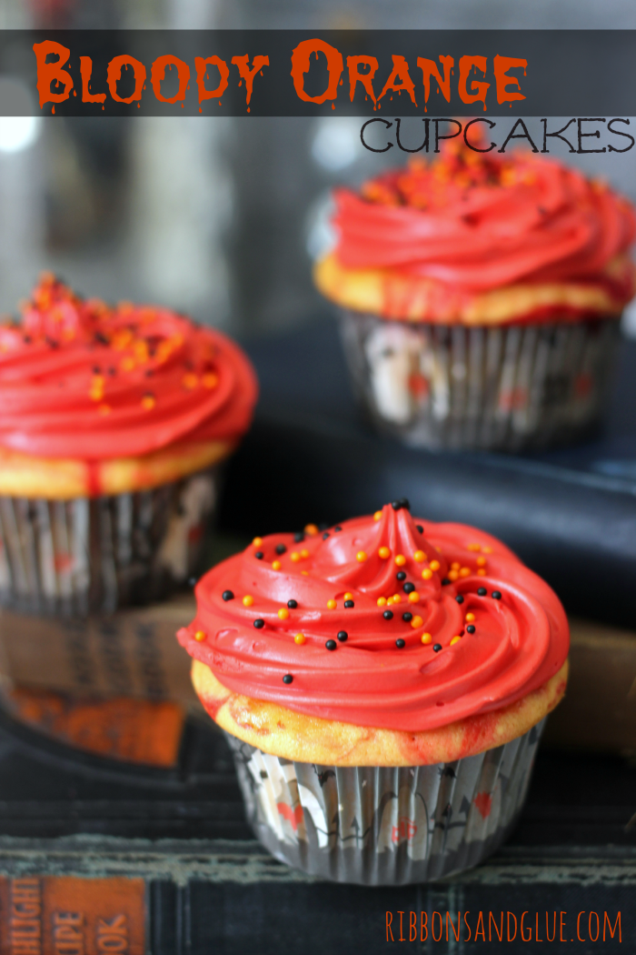 bloody orange halloween cupcakes