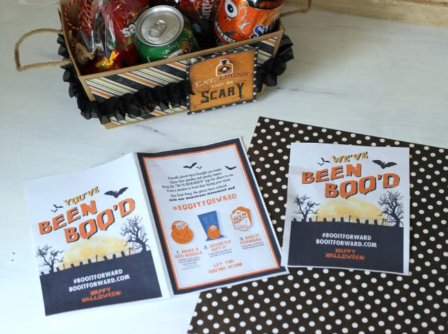 Creative Halloween BOO Kit with Printable. Fill box with Halloween treats, add in printable and leave at neighbors doorstep.
