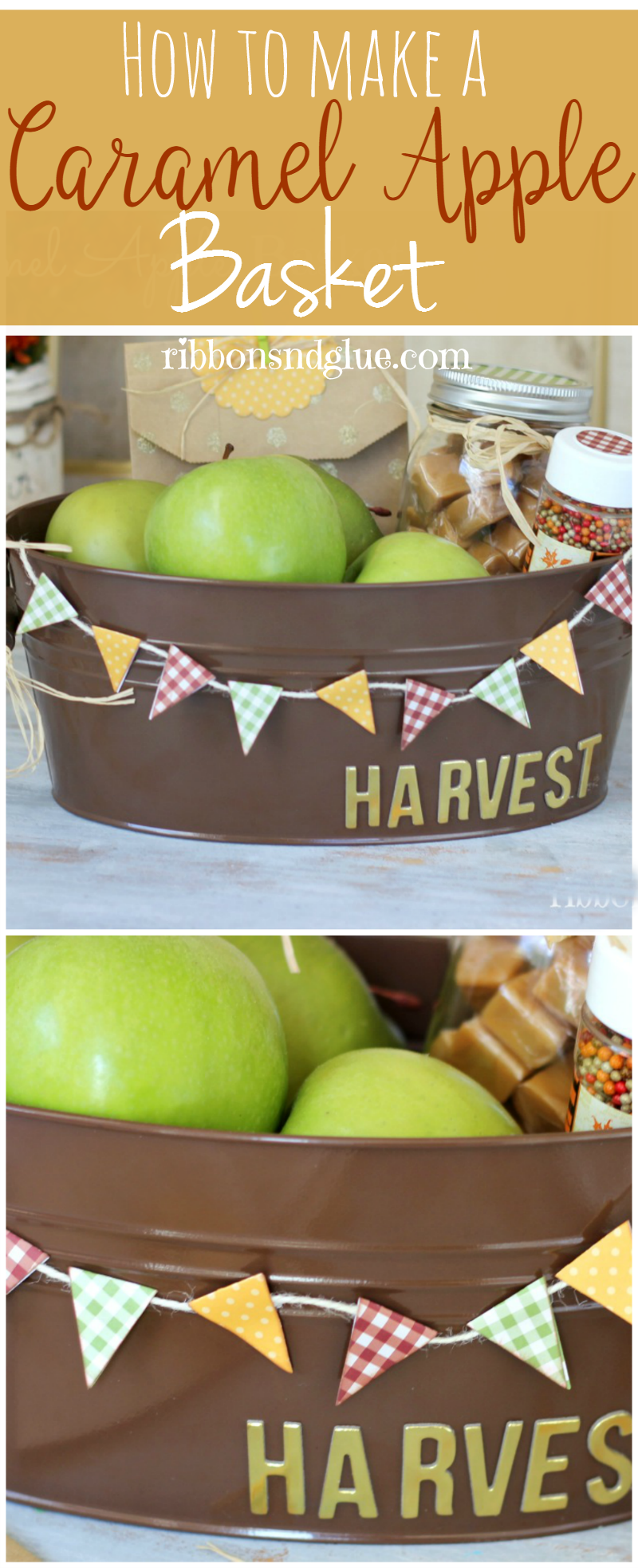 This Fall Caramel Apple Gift Basket idea contains everything you would need to make your own Fall gift basket  for friends and neighbors.