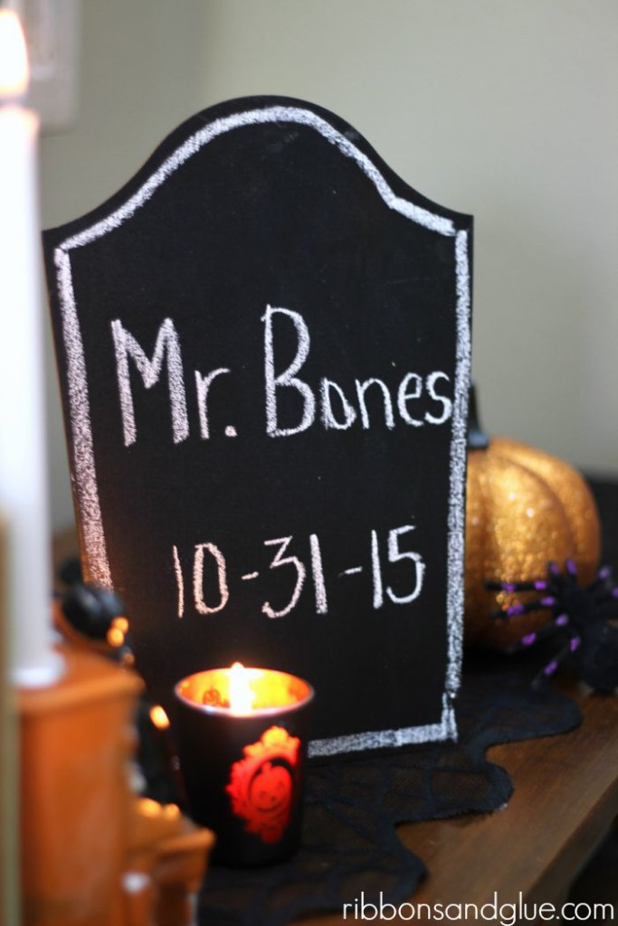 Customizeable Chalkboard Tombstones from Pebbles Inc.. So fun to be able to write what your want for Halloween!