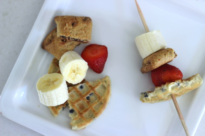 Breakfast Kabobs made with Waffles, Nutri-Grain Bars and fruit. Cut everything up and stick on a skewer!