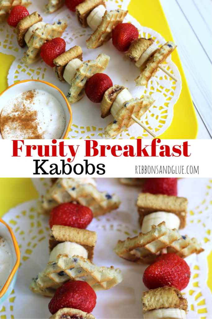 Quick and easy Fruity Breakfast Kabobs made with Eggo Waffles and Nutri-Grain Bars and fruit. Cut everything up and stick on a skewer! @target #FueledForSchool #ad