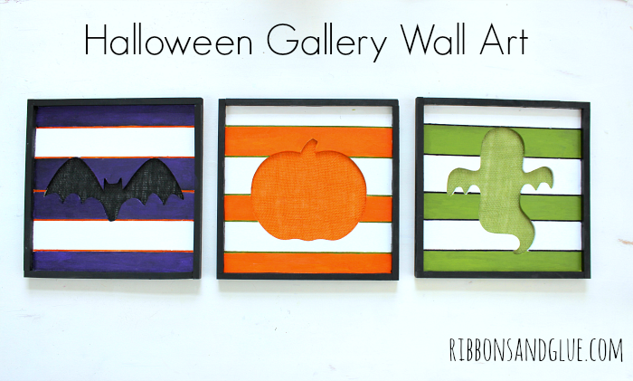 DIY Halloween Gallery Wall Art. Simple painted wood craft perfect to add in to your Halloween decor.