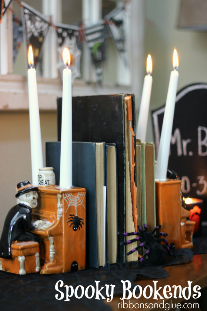 Halloween Candle Vignette created with Yankee Candle taper holders as bookends.