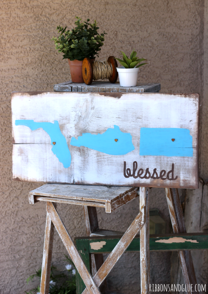 How to make a DIY Rustic Wood Painted State Sign made from a painted and stained wood board that is personalized with States lived in.