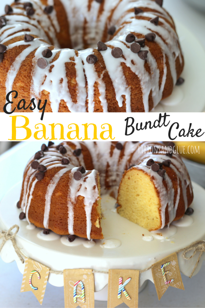 Easy Banana Bundt Cake made from a box cake mix and banana pudding. So moist , delicious and easy too! #PurelySimple #ad