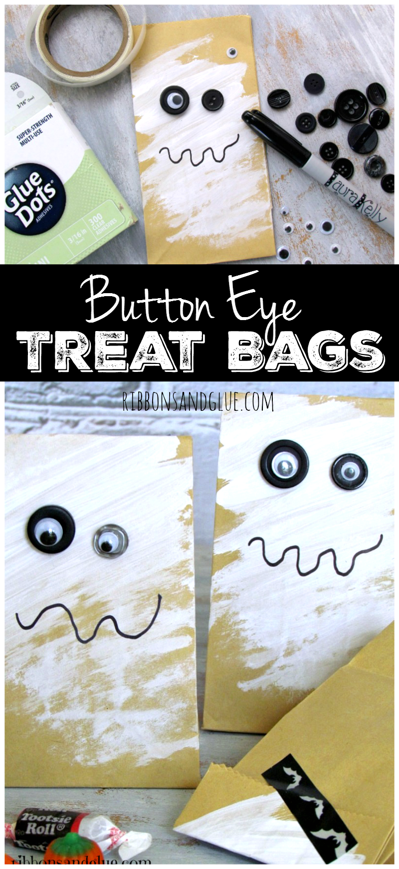 Button Eye Halloween Treat Bags