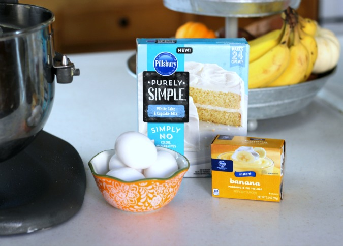 Banana bundt cake made with banana pudding, eggs, oil and Pillsbury Purely Simple cake mix.